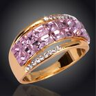 Women 18K Gold Plated Amethyst Austrian Crystal Round Ring Jewelry In 3 Size