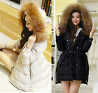 NEW Thick Winter Warm Women Lady Big Real fur Hood Real Down Coat Jacket Parka