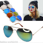 Outdoor Men Women Aviator Glasses Sunglasses Reflective Lens Gold Sivler Frame