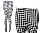 NEW BLACK WHITE DOG TOOTH PRINT LONG FULL LENGTH LEGGINGS PLUS SIZE 8-26