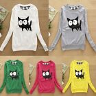 Lady Women's Knitted cat Print Loose Round Neck Long Sleeve Pullover Sweater Top