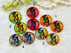 12mm 16mm 20mm cab Handmade glass Photo cabochon lovers Yellow green red 12P011