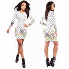 Woman Sexy Long Sleeve Club Party Office Work bodycon Cocktail Pencil Mini Dress