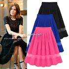 Womens Girls Chiffon Pleated Retro Elastic Waist Short Mini Skirt Dress Fashion