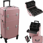 Professional Makeup Rolling Hair Stylist Case 4 Wheel 2 in 1 Organizer Trolley