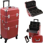 Pro 4-Wheel Rolling Hairstylist Makeup Bag Case 2-in-1 Aluminum White HK6501