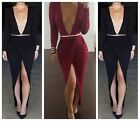 Sexy Women Lady Celeb Deep V Neck Split Front Slim Club Party Evening Long Dress