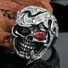 316L Stainless Steel Silver Men's Skull Harley Biker Jewelry Ring Size 8-12