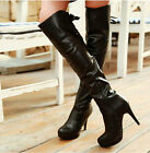 Sexy Womens High Heel Platform Lace Up Zip Riding Over The Knee High Thigh Boots
