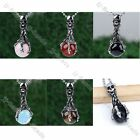 1pc Agate/Rose Quartz/Tiger's Eye Ball Bead Skull Claw Wrap Pendant Necklace New