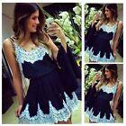 POP Women Summer Sleeveless Floral Lace Cocktail Party Casual Mini Dresses CB