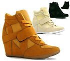 WOMENS LADIES HIGH TOP WEDGES BLACK VELCRO STRAP TRAINER WEDGE BOOTS SHOES G38