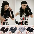 Fashion Knitted Fingerless Winter Gloves Unisex Soft Warm Long Mitten