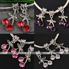5pcs Crystal Rhinestone Dangle Cherry Spacer Bead Fit Charm Bracelet Finding DIY