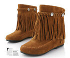 Womens Bohemia Moccasins Mid Calf Flat Shoes Fringe Tassel Suede Snow Ankle