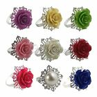 12pcs Wedding Party Banquet Romantic Rose Napkin Rings Dinner Decor Silver Hoops