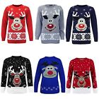 Ladies Womens Christmas Xmas Rudolph Reindeer Novelty Jumper Knitted Sweater Top