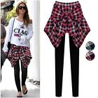 HOT Women Fashion Skirt Blouse Trousers Fake Check Shirt Layered Pants Leggings