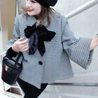 Womens New Fashion Houndstooth Wool Cape Coat Grid Loose Poncho Outwears XZ0027