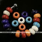5x Howlite Turquoise Loose Gemstone Big Hole European Beads Fit Charms Bracelet