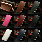 Genuine Real Leather Stand Flip Aluminum Bumper Cover Case For iPhone 6 6 Plus N