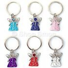 Guardian Angel Keyring Metal Key Ring Rhinestone Charm Stocking Filler