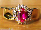 NEW GOLD PLATED FAUX RUBY & DIAMOND ZIRCONIA RING SIZE J N P R S   #4050