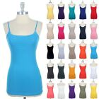 BUILT-IN SHELF BRA Cotton Spaghetti Long Tunic Camisole Tank Top Basic S M L