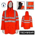 Men Waterproof Hi Viz Jacket Safety Bomber Work Coat Zip Reflective Workwear New