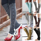 nice Womens Knee High Knit Flat Button Crochet Lace Trim Leg Warmers Boot Socks