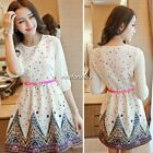 Fashoin Womens Korean Elegant 3/4 Sleeve Floral Casual Chiffon Princess Dress N4