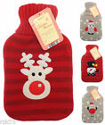 Christmas Hot Water Bottle with Knitted Cover, Festive Gift Idea, Thermotherapy