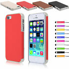 PU LEATHER CHROME HARD CASE COVER FOR APPLE IPHONE 5 5S FREE SCREEN PROTECTOR