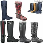 New Women Buckle Straps Knee High Rubber Rain Snow Boots Waterproof Jelly Shoes