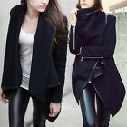 PU Leather Slim Womens Coat Jacket Winter Fashion Outwear With Zipper Trench