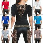 Women's Knit Short Sleeve Lace Back Pullover Sweater - S/M (US 2-4-6)