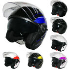 Leopard LEO-608 Open Face DVS Motorcycle Motorbike Crash Helmet Double Sun Visor
