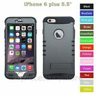 For iPhone 6 Plus 5.5 Metallic Gray Hard &Rubber Hybrid Rugged Impact Case Cover
