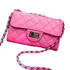 Women Leather like Quilted Chain Cross Body Bag Diagonal Package Messenger Bag
