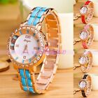Colorful Women Alloy Quartz Analog Dress Crystal Rose Gold Bracelet Wrist Watch