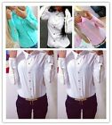 Modish Women OL Shirt Long Sleeve Zips Turn-down Collar Blouse Buttons Tops - CB