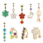 18K Gold Plated Jewelry 14G Rhinestone Navel Ring Dangle Belly Piercing Button