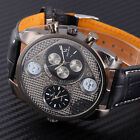 Mens New Fashion Best XMAS Gift Military Leather Dual Movement Sport Men Watch M