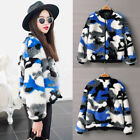 Winter Woman Color Blocking Camouflage Faux Fur Round Neck Jacket Coat Outwear
