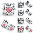 Crystal Rhinestone Heart Veins Tube European Beads Findings Fit Charms Bracelet