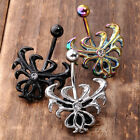 1pc 14G Stainless Steel Crystal Gothic Flower Belly Button Ring Navel Bar Ring