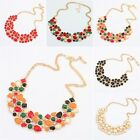 Womens Vintage Fashion Crystals Bib Statement Pendant Necklace Statement Jewelry