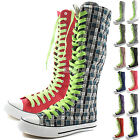 Woman Canvas Mid Calf Tall Boots Casual Sneaker Punk Flat Mint Green Shoelace