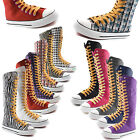 Woman Canvas Mid Calf Tall Boots Casual Sneaker Punk Flat Mustrd Yellow Shoelace