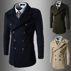 British Style Mens double breasted Peacoat wool blend coat Jacket causal Offical
